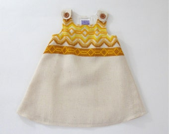 California Dreaming Bohemiam Mustard & Creme Retro Toddler Girls' Dress - Size 2T  - Gold Mustard Embroidered Funky Girls' Dress