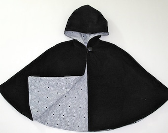 Hooded Cape with Black & White Diamond Flannel Lining, Baby Cape, Toddler Cape, Boys' Cape, Girls'  Cape - Sizes Newborn to Girls 9/10