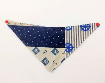 Nautical Bandana Bib, Patchwork Drool Bib Reversible to Blue Twill, Newborn Gift, Shower Gift, New Baby, Drool Bib, Reversible Bib