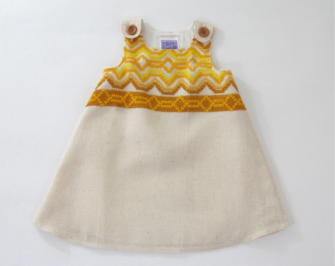 Toddler Girls Dress, Baby Dress, Toddler Dress, Bohemian Mustard Retro Dress, Embroidered Funky Dress, Boho Dress, Retro Vintage, Size 2T