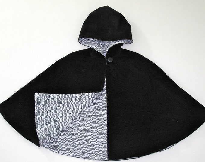 Boys Cape, Girls Cape, Toddler Cape, Baby Cape, Boys Cloak, Capelet, Black Cape with Black & White Diamond Lining,  Sizes Newborn to 9/10