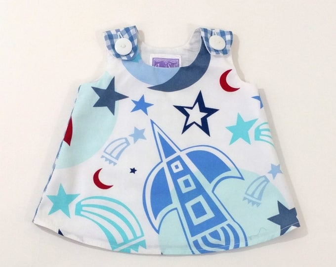 Little Astronaut Space Explorer Newborn Dress, Baby Dress, Girls Dress, Baby Shower Gift, New Baby Gift, Girls Pinafore, Size Newborn