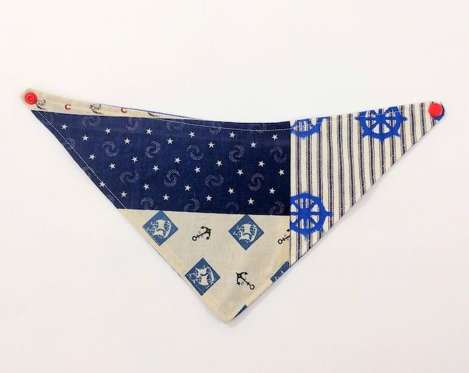 Nautical Bandana Bib, Patchwork Drool Bib Reversible to Blue Twill, Newborn Gift, Shower Gift, New Baby, Drool Bib, Reversible Bib