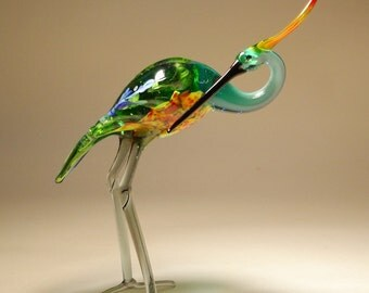 Handmade Blown Glass Art Bird HERON with a Head Turned Figurine