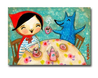 Little Red Riding Hood and Wolf Tea Party ORIGINAL painting cute kids folk art nursery rhymes painting one of a kind art by TASCHA