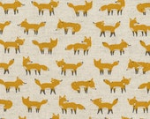 Japanese Fabric Kokka Animal World - fox - yellow, natural - 50cm