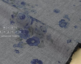 Japanese Fabric - chambray floral II - indigo, charcoal - 50cm