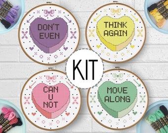 Beginner Cross Stitch Kit - Snarky Valentine - Subversive Cross Stitch DIY Valentine Craft - Embroidery DIY - Funny Cross Stitch