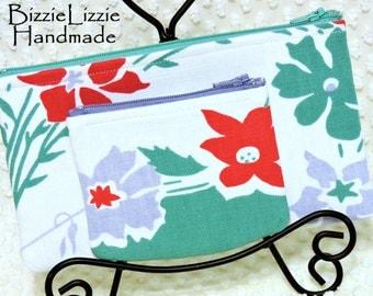 Vintage Fabric Purse Organizers, Zipper Pouch Set, Handmade Jade Green and Cherry Red Zipper Pouches