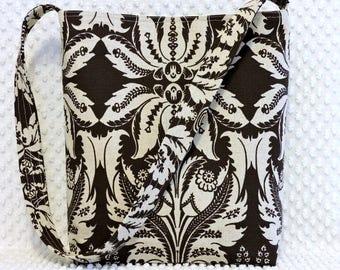 BizzieLizzieHandmade Brown Floral Hobo Bag, Handmade Fabric Purse
