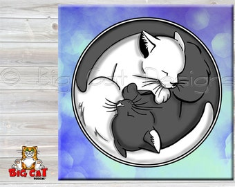 YIN YANG CAT tile, Cat Trivet, Content Cat- Sleepy cats on ceramic Tile.  Cat Spoon Rest. Cat Sign, cat lover gift.