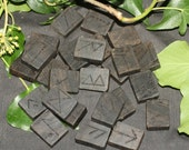 Rare Irish Bog Oak Rune Tablets For divination - for Witches, Pagans, Wiccans & Druids. In a bag with an information sheet