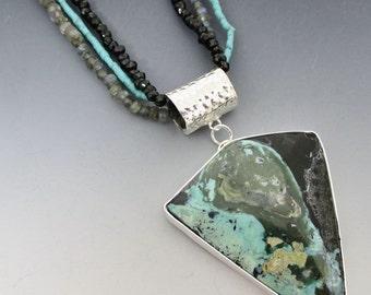 Nevada Turquoise Labradorite Black Spinel Fine Silver Necklace