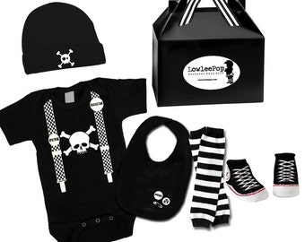 Skull Suspenders ROCKSTAR BABY KIT black onesie leg warmers hat bib booties