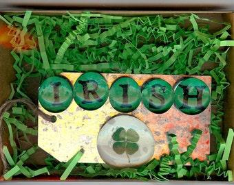 Irish Magnets, IRISH Set of Six Glass Magnets in a Gift Box,