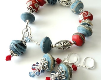 Lampwork Bracelet and Earrings, Two Piece Set, Denim Blue, Dusty Blue, Brick Red, Silver Beaded Bracelet, Beaded Jewelry, OOAK, Gift For Her