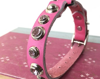 Pink Leather Cat Collar with Crystal Rivets, Eco-Friendly, Size to fit a 7-9in Neck, Rhinestone Collar