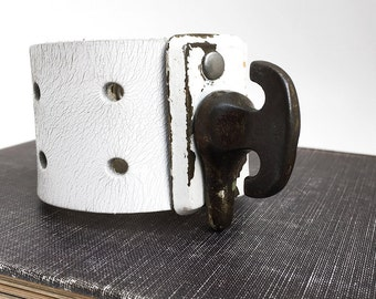 Rustic White Leather Cuff Bracelet Armband with Industrial Hardware, EcoFriendly, Recycled Belt Cuff, Seattle Handmade, Unique Jewelry, OOAK