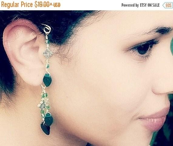 ON SALE Emerald Green Irish Celtic Ear Cuff  Boho Wrap, No Piercing, Non Pierced Dangle Earrings