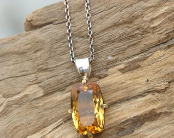 Stelring silver necklace with stunning faceted fire citrine gemstone in silver bezel and brass prongs setting