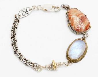 Oval moonstone and drop agate bracelet with silver oxidized chain an 24k gold plated accents