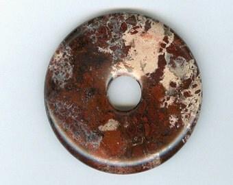 40mm Red Mahogany Jasper Gemstone PI Donut Pendant Doughnut 1001T