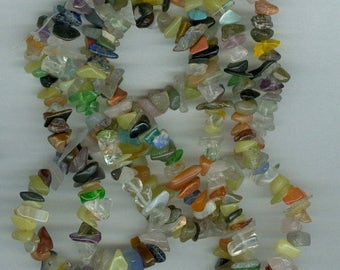 CLEARANCE 35in Mixed Gemstone and Glass Chip Beads Goldstone Jasper Jade Bead Chips