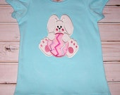 Sample SALE Pink Bunny holding Easter Egg Applique on Aqua Ruffle Style Short Sleeve T-shirt size 4T - ready to ship  Easter monogram option