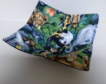 Microwave Bowl Cozy Jungle Elephants, LeopardsCountry Rustic Kitchen Handmade Heating Trivet Pot Holder Hot Pad Quilted Cloth Bowl Cereal