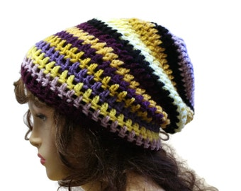 Crochet Beanie Slouchy Hat Oversized Slouch Beanie Purples and Gold Mens or Womens