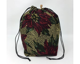 MOVING SALE - Holiday Christmas Red Gold Poinsettia Knitting Drawstring Project Bag