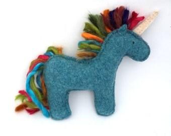 Blue Unicorn - Recycled Wool Sweater Plush Toy