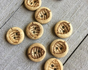 """Coconut Wood Buttons (B129) TEN 1/2"""" - 13mm Round with Leaf Coconut Shell Buttons for Sewing Crochet Knitting Crafts Wood Buttons"""
