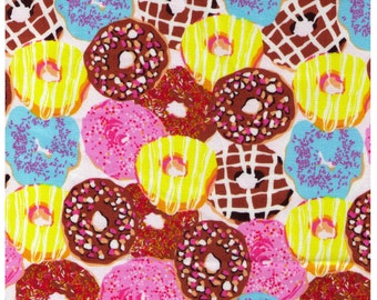 HALF YARD - Donuts Brights - Brown Pink Lemon Yellow and Aqua Colorway - Vanilla Icing Strawberry Iced Chocolate - Japanese Imported Fabric