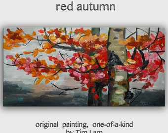 """Art Painting Abstract Painting Original modern Autumn Color tree art 48"""" landscape painting on gallery canvas by tim lam"""