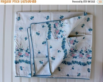 HOLIDAY SALE - New Vintage Duvet Cover - Cotton Comforter and Blanket Cover - 1940s  - New Twin Full Queen - Pink and Blue Floral - Cottage