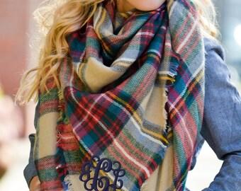 Monogrammed oversized square plaid blanket scarf - Blarney Stone Plaid - Khaki, Blue, Forest - large scarves, warm scarves, Oversized Scarf