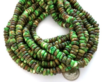 130 Green & Brown Bone Beads, Rondelle Beads (H2410)