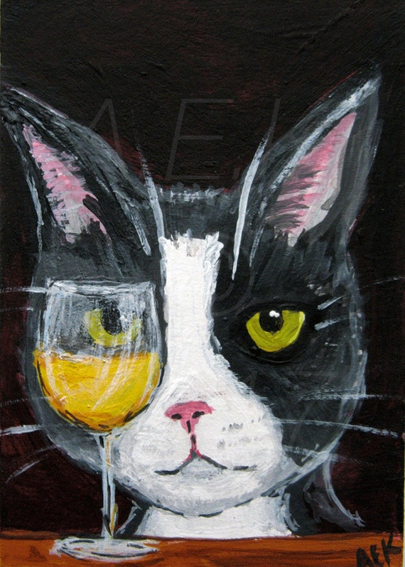 Funny Tuxedo Cat With White Wine Art  - ACEO Original Painting - Mylo is a Wino - Funny Cat Art - Gift for Cat Lover