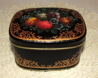 Vintage Small Rectangle Toffee Tea Tin, Black with Colorful Flowers, Made in England, trinket box, storage container