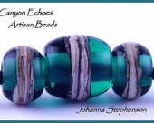 BIG HOLE Teal and Silvered Ivory Lampwork Bead Set by Canyon Echoes