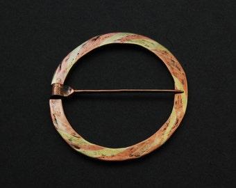 Mokume ringbrooch - copper, brass, silver solder