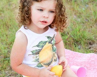 Toddler Gift, Birthday Shirt, Tank Top, Lemon Shirt, Vintage Fruit, Summer Shirt, Toddler Shirt, Kid's Shirt, choose size 3 mos to 12 yrs