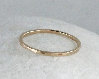 Yellow Gold Stacking Ring, 14K Gold Ring, Solid Gold Band, Thin Hammered Gold Ring, Solid 14K Gold Wedding Ring, Skinny Gold Ring, 1mm Wide