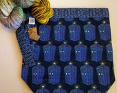 Doctor Who Police Box Triple Shot 3 Skein knitting project bag.