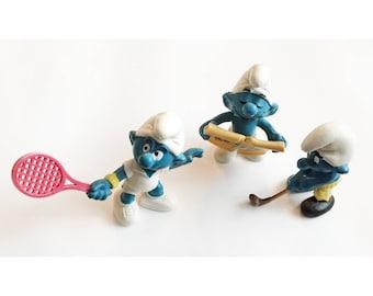 Vintage Smurfs 1978 and 1979 - Golfing Smurf, Tennis Smurf, Singing Smurf