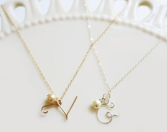 Letter Necklace Gold, Pearl Initial Necklace, Bridesmaid Necklace Set of 6, Initial Necklace Sterling Silver Wedding Jewelry for Bridesmaids