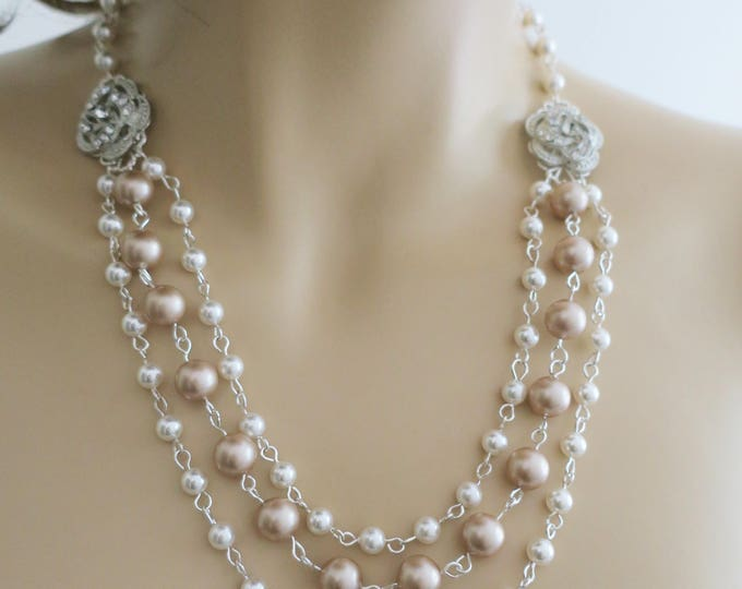 Bridal Necklace Champagne Pearl Necklace Downton Abbey 1930s 1940s Wedding Statement Necklace Swarovski Pearl Cubic Zirconia Rose Bohemian