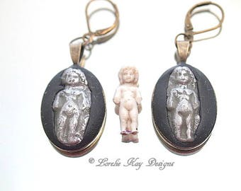 Petite Frozen Charlotte Doll Earrings Tiny Charlotte Doll Dangle Silver & Black Earrings Lorelie Kay Original