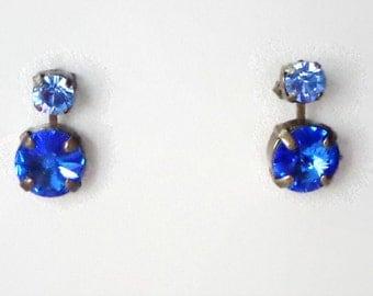 Austrian crystal 10mm rivoli  fancy stone stud and drop earrings hot blue sapphire,antique bronze pl.,awesome Swarovski elements earrings